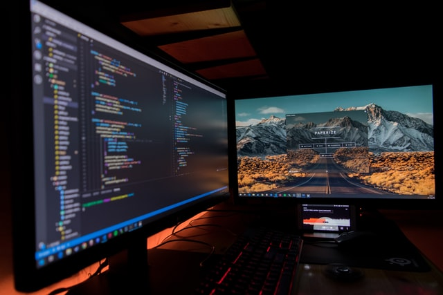 Computer screen displaying codes