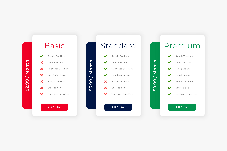 three price charts: basic, standard and premium