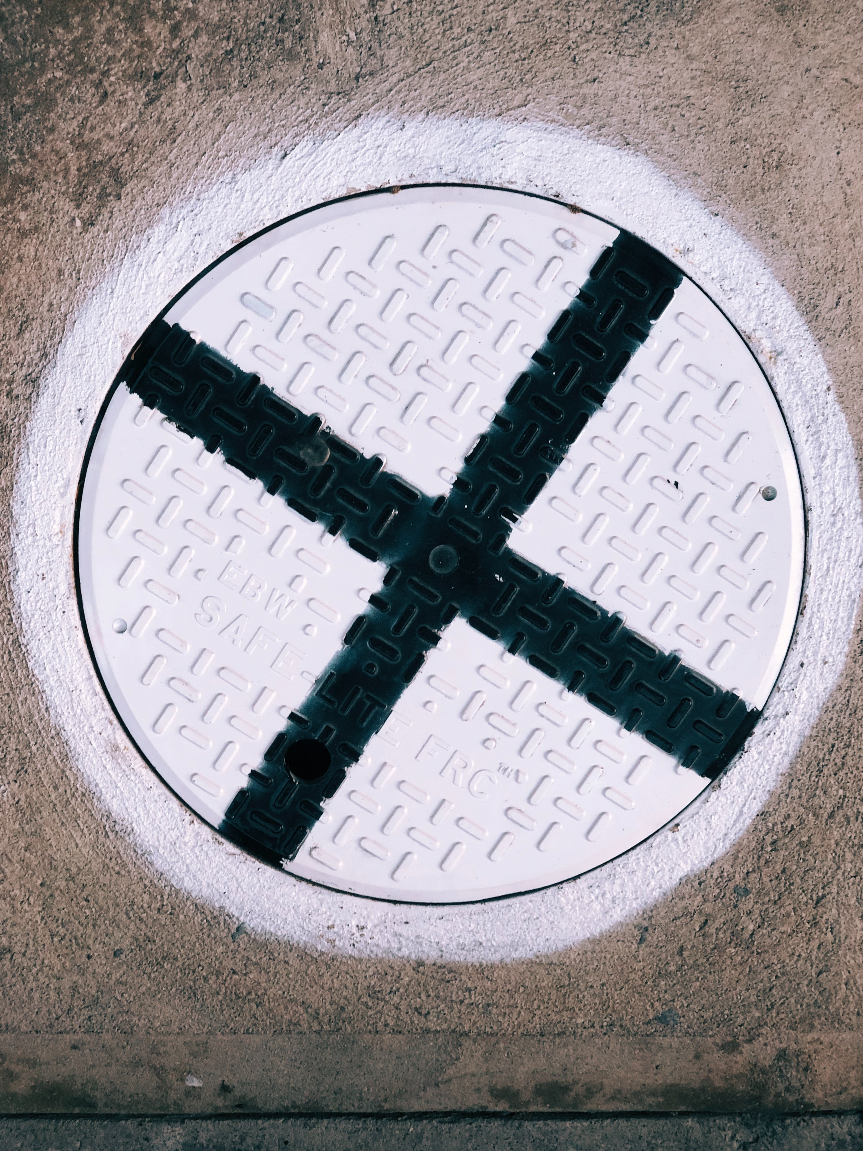 White circle with x painted in black