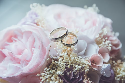 Rings on a bouquet