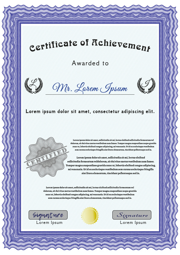 Certificate with purple outline